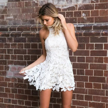 Women Party Hanging neck Style Lace Dress Summer Hollow Out Waist Backless Warp Elegant Front Mini Dresses