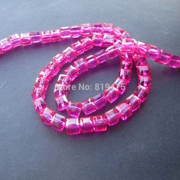 98Pcs/Lot 6mm Glass crystal beads Loose Cube Square shape Hot Pink color for jewelry making