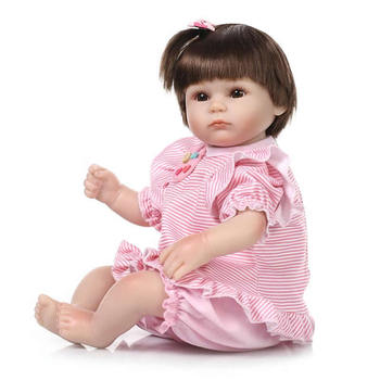 Popular 17 Inch Reborn Girl Babies Silicone Soft Newborn Dolls With Stripped Clothing Cloth Body Brinquedo Kids Birthday Gift
