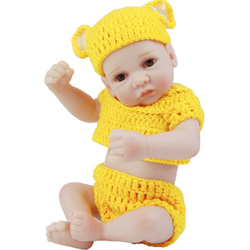Mini Reborn Baby Doll 11 inch New Born Baby Full Body Silicone Dolls Dressed Yellow Knit Cloth Safety As Children Gifts