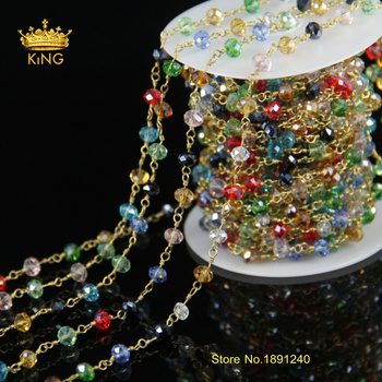 5Meter Colorful Glass Faceted Rondelle Beads,Plated Gold Rosary Style Chain Necklace Bracelet JD090